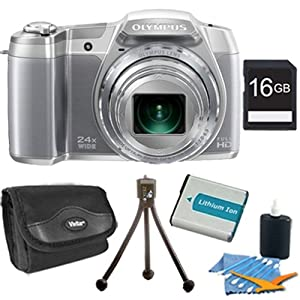 Olympus Stylus SZ-16 iHS Digital Camera with 24x Optical Zoom and 3-Inch LCD (Silver) Plus 16GB Memory Kit. Kit Includes 16GB Memory Card, Replacement Lithium Battery, Flexible Mini Table-top Tripod, Deluxe Carrying Case , and 3pc. Lens Cleaning Kit.