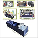 Foldable Multi Compartment Fabric Car Truck Van SUV Storage Basket Trunk Organizer and Cooler Set Dark Blue