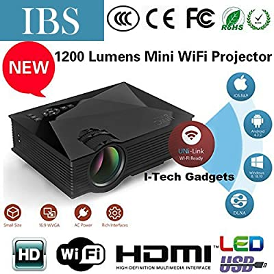 "IBS HD Movies 100"" Inch Multimedia LED LCD Projector Home Cinema Theater Supports - HDMI USB VGA AV SD Card (Just..."