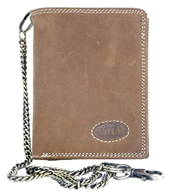 Natural Leather Biker's Wallet Wild with Metal Chain to Hang