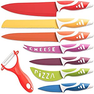 OxGord Professional Chef Knives, Multi Use 8pc Gift Set for Home Kitchen - Stainless Steel Commercial Grade Non-Stick Blades - 2016 Newly Designed Model