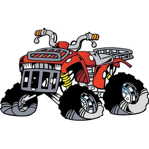 Vehicle Wall Decals - Cartoon Red Offroad ATV