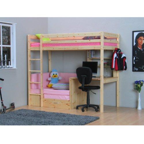 Thuka Hochbett, 90×200 Bett natur inkl. Matratze rosa und Lattenrost bestellen