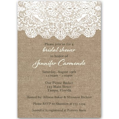 Burlap and Lace Bridal Shower Initations, Wedding, White, Country, Chic, Rucstic, 10 Custom Printed Invites with Envelopes, FREE Shipping, Burlap Lace