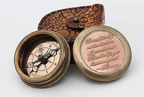 Go Confidently Thoreau's Stamped Quote Compass W/Stamped Mandala Design Case 1