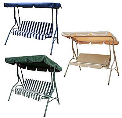 Bentley Garden 3 Seater Outdoor Swing Seat Chair Hammock - Available In Green Striped, Blue Striped And Beige