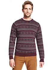 Blue Harbour Pure Cotton Crew Neck Fair Isle Jumper