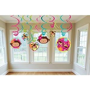 Pink Mod 'Monkey Love' Swirl Decorations (12pc)