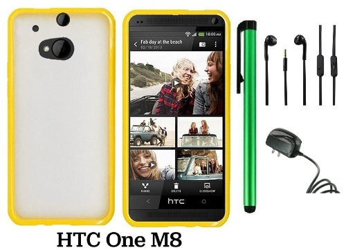 Htc One M8 Premium Transparent Clear Composite Material Back Cover Case (For 2014 Htc New Flagship Android Phone) + Travel (Wall) Charger + 3.5Mm Stereo Earphones + 1 Of New Assorted Color Metal Stylus Touch Screen Pen (Yellow Tpu Edge With Clear Plastic