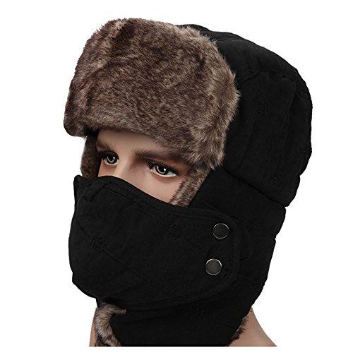 Ezyoutdoor Unisex Winter Trooper Hat Trapper Hat Hunting Hat Ushanka Ear Flap Chin Strap and Windproof Mask for Outdoor Sport Ski Hat Cycling Motorbike