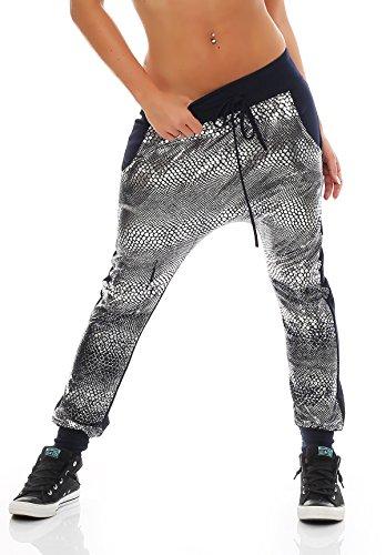 zarmexx-jogpants-da-donna-print-look-pantaloni-da-jogging-jogger-pantaloni-estivi-rettili-argentato-