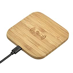 Nunet Natural Bamboo Wireless Charger, Qi Wireless Charging Pad For Samsung Galaxy S6/S6 Edge/S6 Active, S7/S7 Edge, Note 5/6, LG, Nokia, Sony, HTC and all QI-Enabled Devices