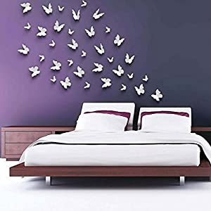 Wall Decor - 3D DIY Wall Stickers Decals Butterfly Mirror Surface Home Decor Room Decorations Large Silver from Mark8shop