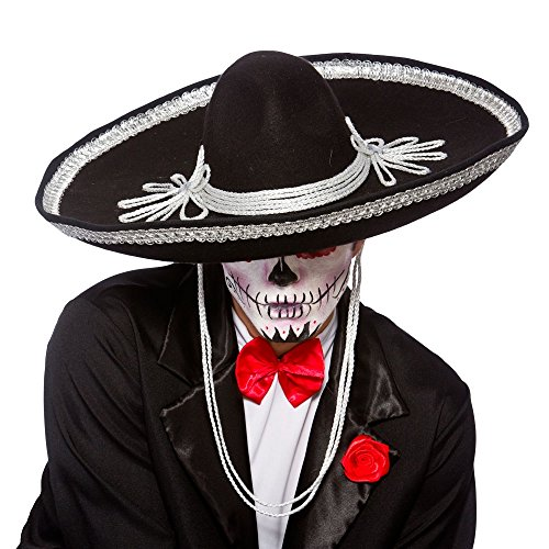 [Adult Halloween Day of the Dead Black Sombrero Hat Fancy Dress Accessory] (Dia De Los Muertos Mariachi Costume)