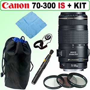 Canon EF 70-300mm f/4-5.6 IS USM Telephoto Zoom Lens + Deluxe Accessory Kit