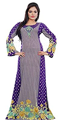 Women's Colorful Trendy Designer Printed Kaftan Maxi Dress Long Sleeve