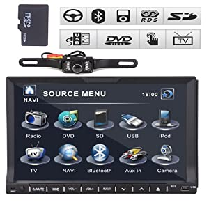 7 Double 2 Din Car DVD Player Radio Ipod Tv None GPS Head Unit+reverse Camera by GPS