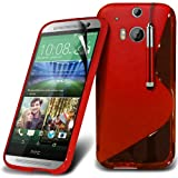 ONX3 Red HTC One M8 Protective S line Hydro Wave Gel Skin Case Cover, Retractable Touch Screen Stylus Pen & LCD Screen Protector Guard