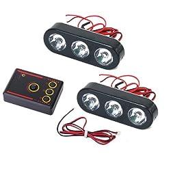 Generic 2Pcs 6 Lights LED Multi-function Flash Strobe Light DC 12V - White