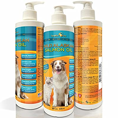 Premium Wild Alaskan Salmon Oil for Dogs and Cats ★ All-Natural Omega-3 Food Supplement ★ over 15 Omega's ★ EPA - DHA Fatty Acids ★ Natural Astaxanthin - Vitamin D ★ Satisfaction Guaranteed!