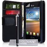LG Optimus L5 E610 Zubehör Tasche PU Leder Brieftasche Hülle Schwarz Mit Griffel Stift