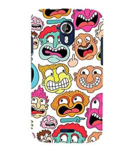 MULTIPLE CARTOONISH FACES 3D Hard Polycarbonate Designer Back Case Cover for Micromax Canvas Magnus A117