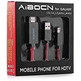 Aibocn 6.5 Feet 11 Pin Micro USB to HDMI Adapter Cable 1080P HDTV for Samsung Galaxy S5, S4, S3, Note 3, 2, Galaxy Tab 3 8.0, Tab 3 10.1, Note 8, Note Pro (NOT for Tab 3 7.0, Note 10.1, Note 3 N9008V)