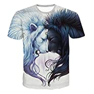 Uideazone Unisex 3D Creative Graffiti Print Hip Hop Style Tee T-Shirt