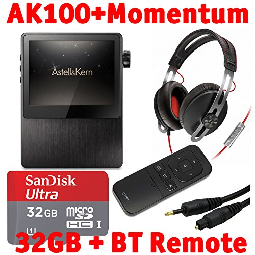 Astell & Kern Ak100 Mastering Quality Sound Dac Hifi Audio Player With Sennheiser On Ear Momentum Headphones, Bluetooth Remote Control, 32Gb Microsd Card, And Emusic Optical Audio Connection Kit