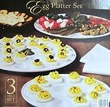 "Egg Platter Set 3Pc Ceramic Multi Use *** Product Description: Egg Platter Set. Features: Classy Serving Set Made Of Ceramic Dishwasher Safe Microwave Safe Glossy White Color 3 Piece Set Includes: Flat Platter- 13"" Diameter- Use For Serving All T ***"
