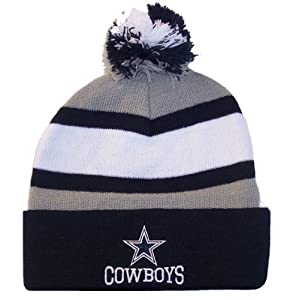Dallas Cowboys NFL Knit Pom Cuff Beanie Cap Hat Authentic & NEW Team Colors by Dallas Cowboys Authentic Apparel