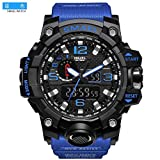 SMAEL Men's Sports Analog Digtal Wrist Watch Dual Quartz Movement Military Time Water Resistant with Backlight (Blue Belt-Black) (Color: Blue Belt-Black)