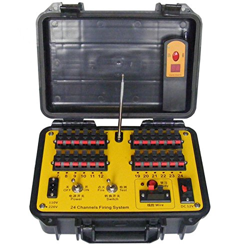 Big promotion 2016 with DHL ,24 cues remote or wire control fireworks firing system, adjust sequential time or step fire, wire controller and remote controller (Electronic Firing System compare prices)