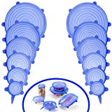 ANPHSIN 12 PCS Silicone Stretch lid - Durable Expandable Food Saver Cover for Bowel, Can, Cup (Blue)