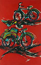 Original Batik Art Painting on Cotton Fabric, \'Bicycle and Rickshaw\' by Taufik (45cm x 75cm)