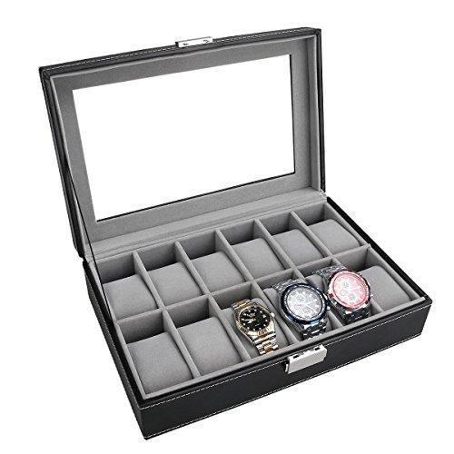 PIXNOR Uhrenbox - Eleganter Speicher für bis zu 12...
