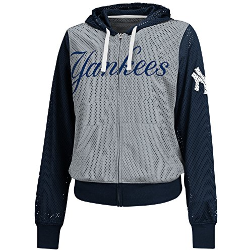 MLB New York Yankees Women's Walk Off Full Zip Mesh Hoody, Large, Gray/Navy (New York Yankees Hoodie Zipper compare prices)