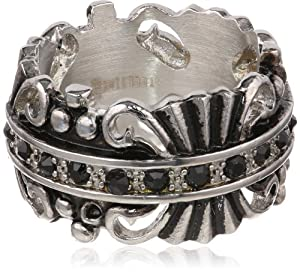 Men's Stainless Steel Large Gothic Ip Plated Black Simulated with Black Diamonds Ring, Size 9 by HMY Jewelry Inc.