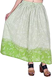MSONS Women's Fusion Wear Green Floral Printed Long Maxi Skirt in Cotton Fabric - Free Size