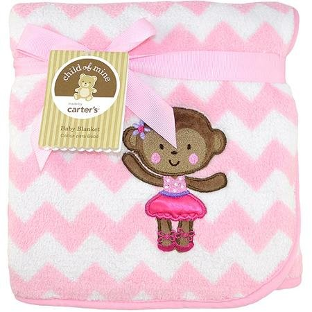 Ballerina Monkey 2-Ply Embroidered Fluffy Fleece Blanket Child of Mine by Carters