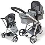 TecTake 3 in 1 Pushchair stroller combi stroller buggy baby jogger travel buggy kid's stroller grey