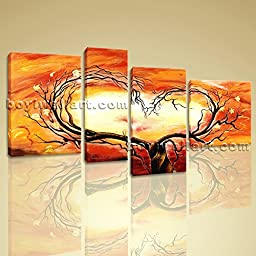 Large Canvas Prints Love Tree Picture Heart Abstract Floral Paintings 4 Pieces Wall Art Inner Framed Ready To Hang BoYi 52\