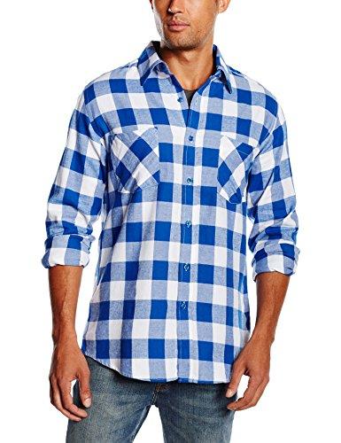 Urban Classics - Checked Flanell Shirt, Camicia Uomo, Multicolore (White/Royal), XX-Large (Taglia Produttore: XX-Large)