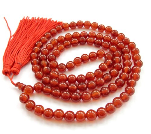 8mm 108 Red Agate Beads Tibetan Buddhist Prayer Mala Meditation Necklace