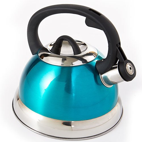 Whistling Tea Kettle in Shiny Metallic Teal- 2.5qt.