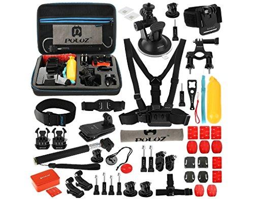 gopro pack bundle accessoire, Puluz®, 53 accessoires mis, portant un grand sac de rangement étanche (32cm x 22cm x 7cm) pour héros 4,3- +, 3,2,1, session et d'autres caméras d'action