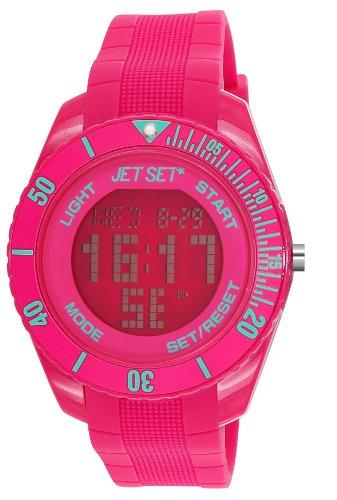Jet Set J93491-23 - Reloj digital de cuarzo unisex con correa de caucho, color rosa