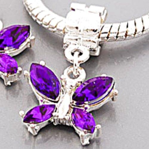 Charm Buddy Silver Plated Purple Rhinestone Butterfly Dangle Charm Bead Pendant Fits Pandora Troll Charm Bracelets Necklaces