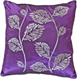 "Decorative Silver Leaves Embroidery with Piping Floral Throw Pillow COVER 18"" Purple"