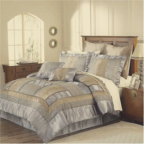 12pc King Bed in a Bag Soho Blue/Taupe Comforter Set -1000tc Sheet Set Included